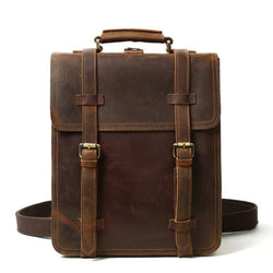 Rustic Brown Leather Backpack, Messenger Bag - Blue Sebe