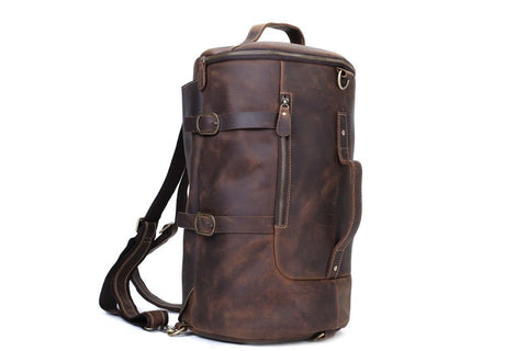 Handmade Vintage Leather Large Travel Backpack  - Blue Sebe