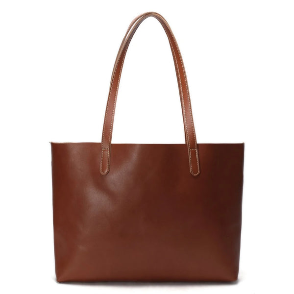 Handmade Vegetable Tanned Full Grain Leather Simple Tote Bag - Blue Sebe Handmade Leather Bags