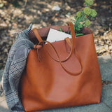 Handmade Full Grain Vegetable Tanned Leather Chic Tote Bag - Blue Sebe