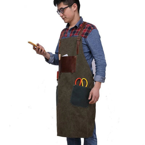 Handmade Vintage Waxed Canvas And Leather Apron - Blue Sebe