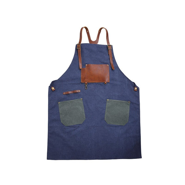 Handmade Vintage Waxed Canvas And Leather Apron - Blue Sebe Handmade Leather Bags