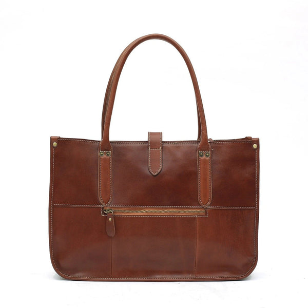 Handmade Full Grain Leather Work Tote Bag - Blue Sebe Handmade Leather Bags
