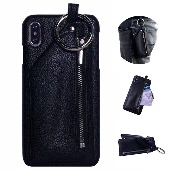 iPhone Fitted Case With Leather Pouch And Keyring For iPhone 11 Pro Max X XR XS XS MAX 6 6s 7 8 plus - Blue Sebe
