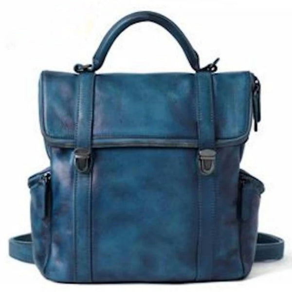 Handmade Vintage Full Grain Leather Handbag/Backpack - Blue Sebe Handmade Leather Bags