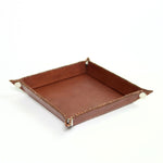 Bati | Brown Leather Catch All with Button Clasps | Leather Accessories | Desk | Desk Accessories | Leather Tray