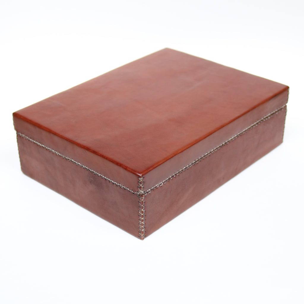 Bati | Brown Leather Box | Quality Handmade Leather Goods from Paraguay, Leather Accessories, Home and Decor, Leather Trays, Leather Boxes, Bati