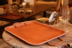 Bati | Tan Brown Leather Tray with Braided Handles | Handmade Leather Goods from Paraguay | Leather Valet Tray, Home and Decor, Leather Accessories, Leather Box, Leather Serving Tray, Bati