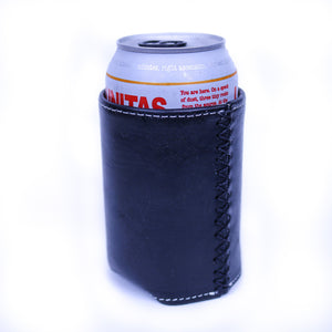 Bati | Black Leather Can Koozie | Handmade Leather Goods from Paraguay | Leather Accessories, Leather Koozie