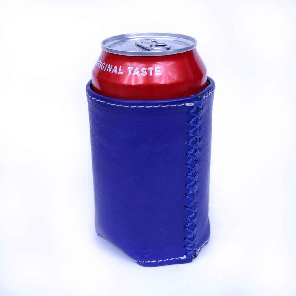 Bati | Blue Leather Can Koozie | Handmade Leather Goods from Paraguay | Leather Accessories, Leather Koozie