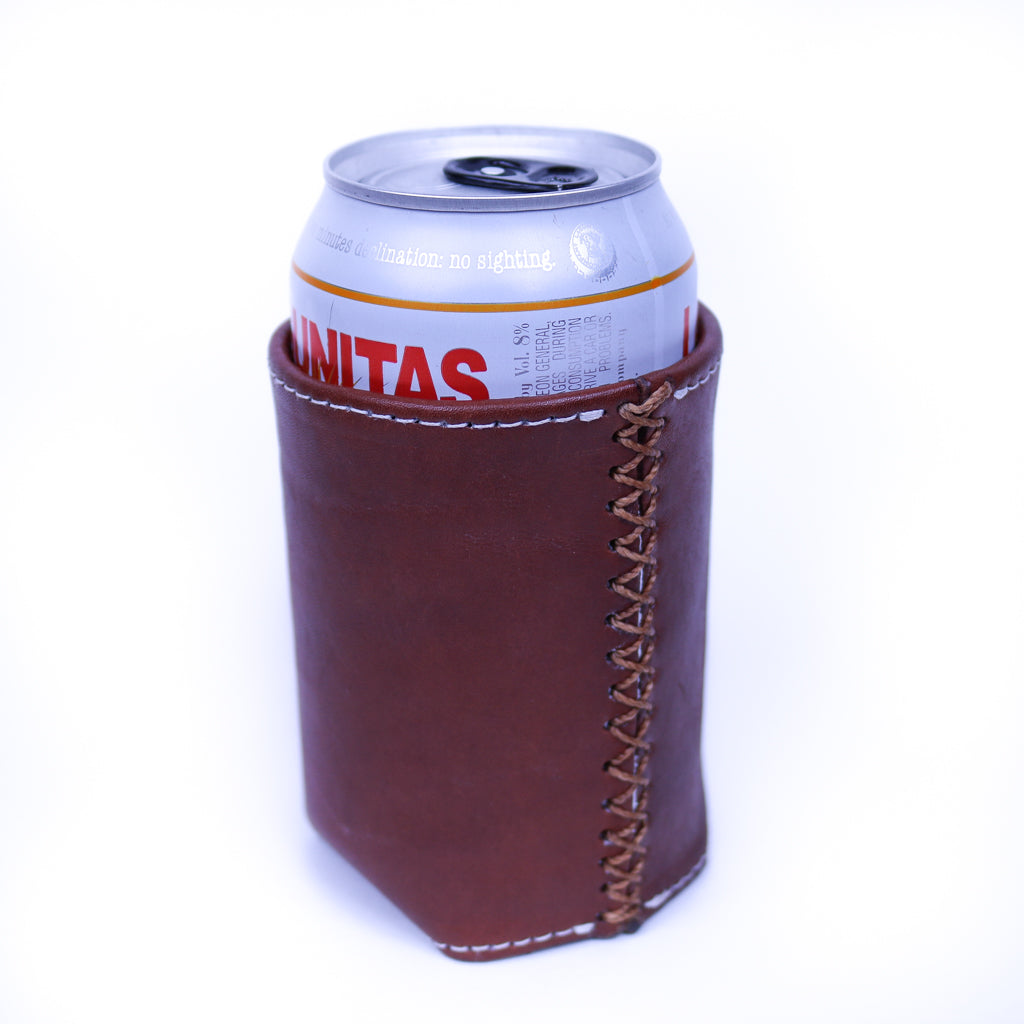 Bati | Brown Leather Can Koozie | Handmade Leather Goods from Paraguay | Leather Accessories, Leather Koozie