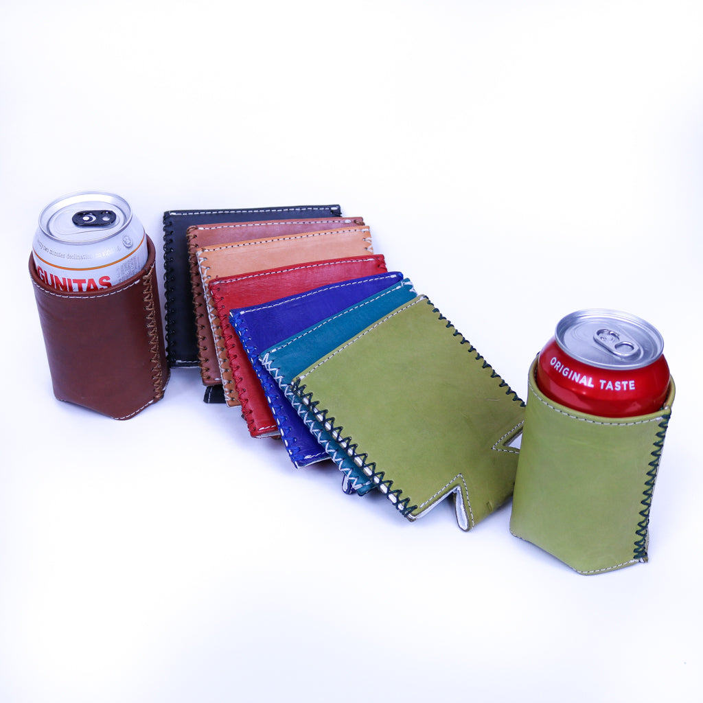 Bati | Leather Can Koozie | Handmade Leather Goods from Paraguay | Leather Accessories, Leather Koozie