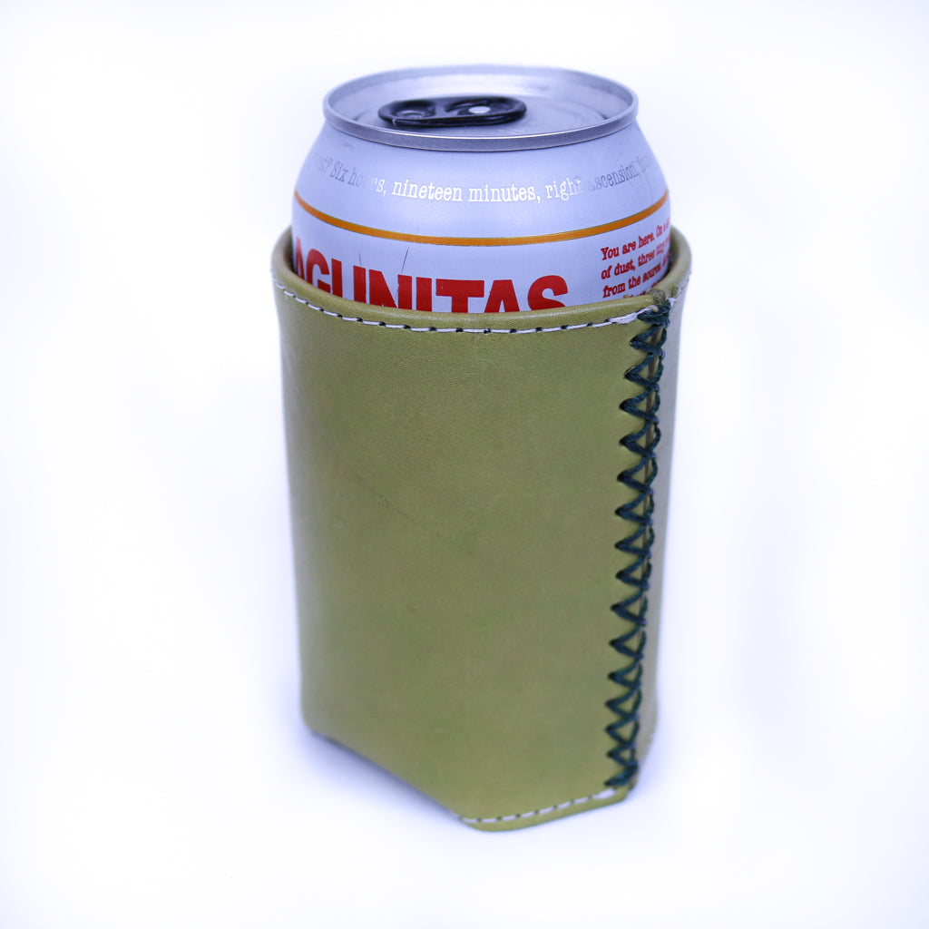 Bati | Green Leather Can Koozie | Handmade Leather Goods from Paraguay | Leather Accessories, Leather Koozie