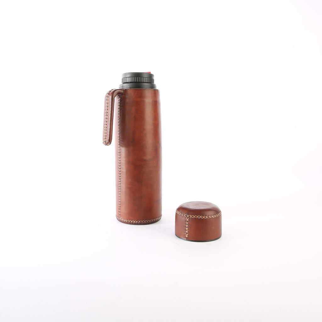 Brown Leather Thermos | Leather Thermos, Leather Accessories, Leather, Hand Stitched Bati Leather Goods | Drinkware | Travel Accessories | Mate Thermos