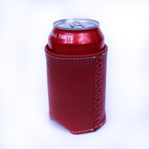 Bati | Red Leather Can Koozie | Handmade Leather Goods from Paraguay | Leather Accessories, Leather Koozie