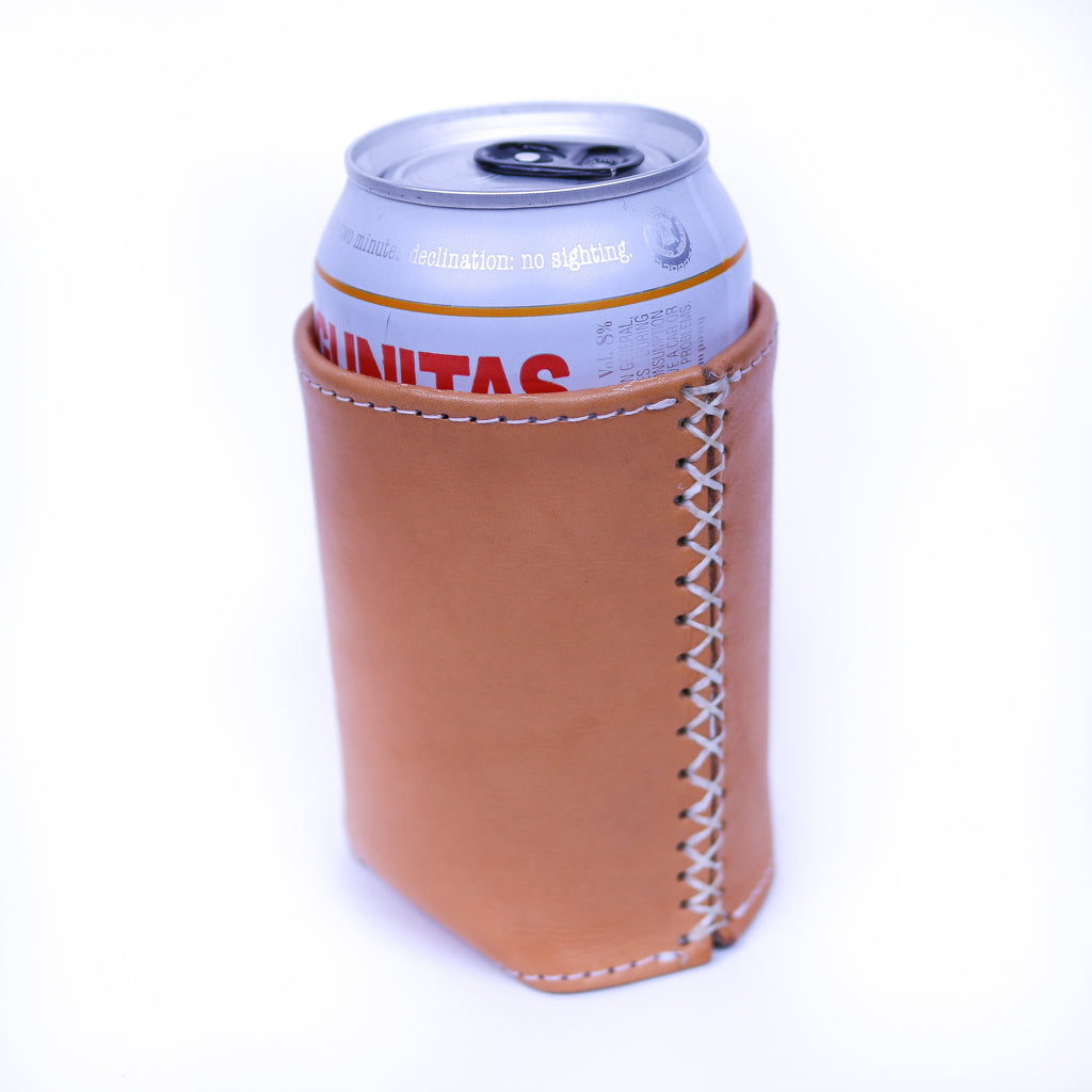 Bati | Tan Brown Leather Can Koozie | Handmade Leather Goods from Paraguay | Leather Accessories, Leather Koozie