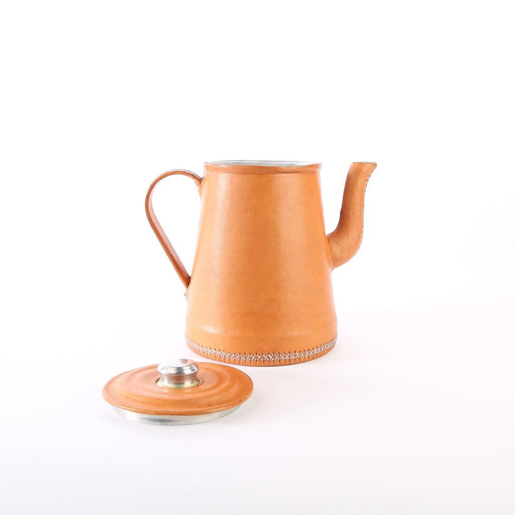 Tan Leather Tea Pot | Bati Goods | Leather Tea Pot | Kitchen Accessories | Drinkware Accessories | Leather Accessories