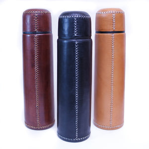 Tan Leather Thermos | Leather Thermos, Leather Accessories, Leather, Hand Stitched Bati Leather Goods
