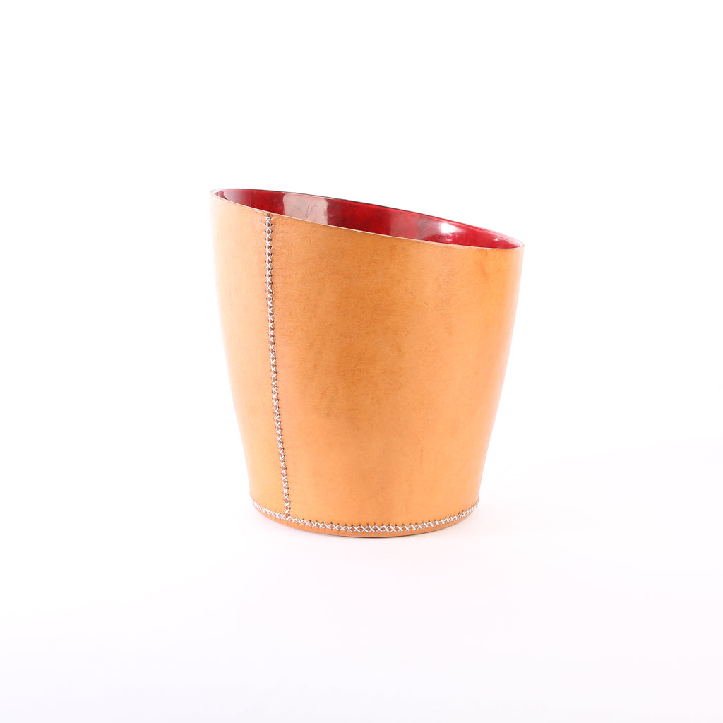 Tan Leather Wastebasket | Leather Trash Can | Leather Accessories | Home Office | Handmade