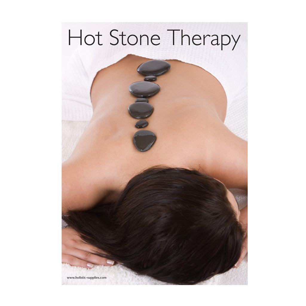 poster of woman lying for a basalt hot stones rocks massage spa