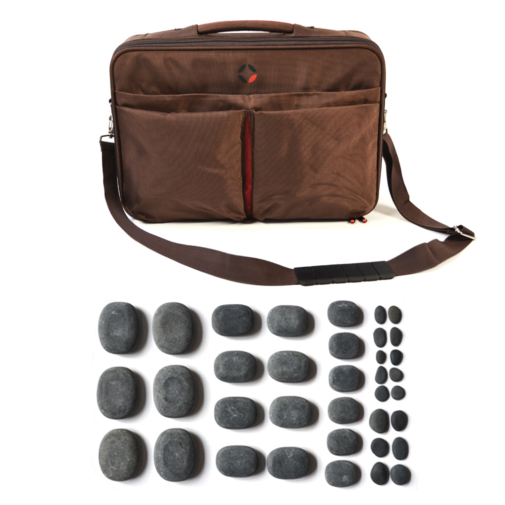 VULSINI heating bag and basalt stone set for hot stone full body massage therapy