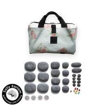 VULSINI Mini Bag and basalt stone set for hot stone reflexology massage therapy - sally earlam association of reflexologists