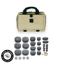 VULSINI LUX Mini Bag and basalt stone set for hot stone reflexology massage therapy - sally earlam association of reflexologists