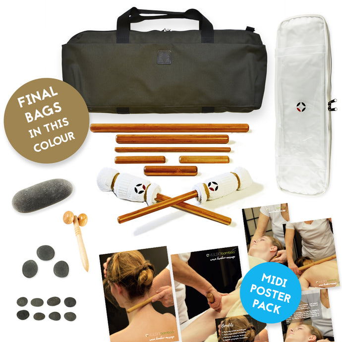 VULSINI Bamboo Massage Sticks and Heating Bag for Hot Stones