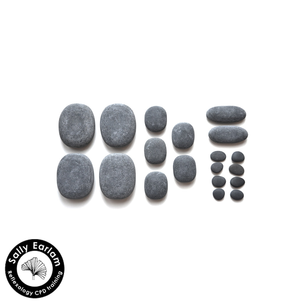 Hot Stone Reflexology Massage Set with basalt and cold stones - sally earlam association of reflexologists