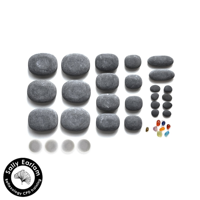 Hot Stone Reflexology Massage Set with basalt and cold stones