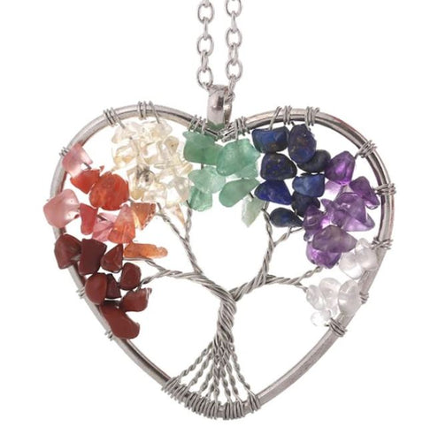 7 Chakra Quartz Natural Stone Tree of Life pendulum - Heart Shape & Meditation Tapestry