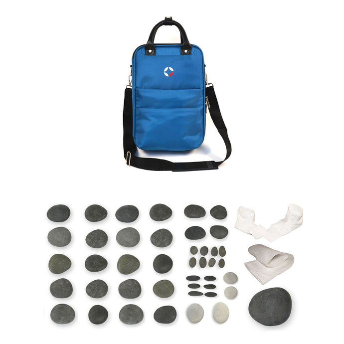 VULSINI Mini Bag and basalt stone set for hot stone manicure and pedicure massage therapy