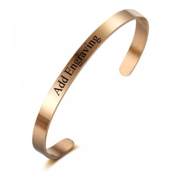 Stainless Steel Rose Gold Engraved Bracelet