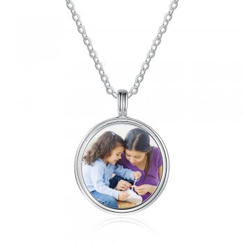 925 Silver Engraved Photo Necklace