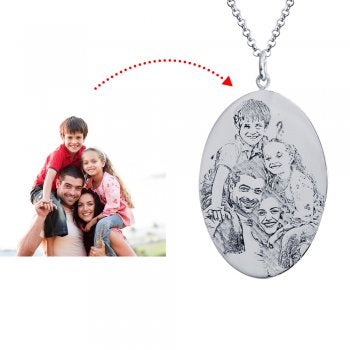 925 Sterling Silver Engraved Photo Necklace