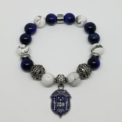 Zeta Phi Beta White Blue Bracelet