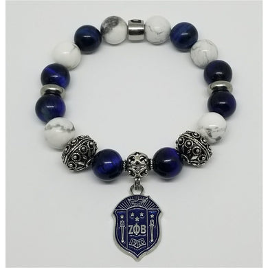 Zeta Phi Beta Blue White Bracelet