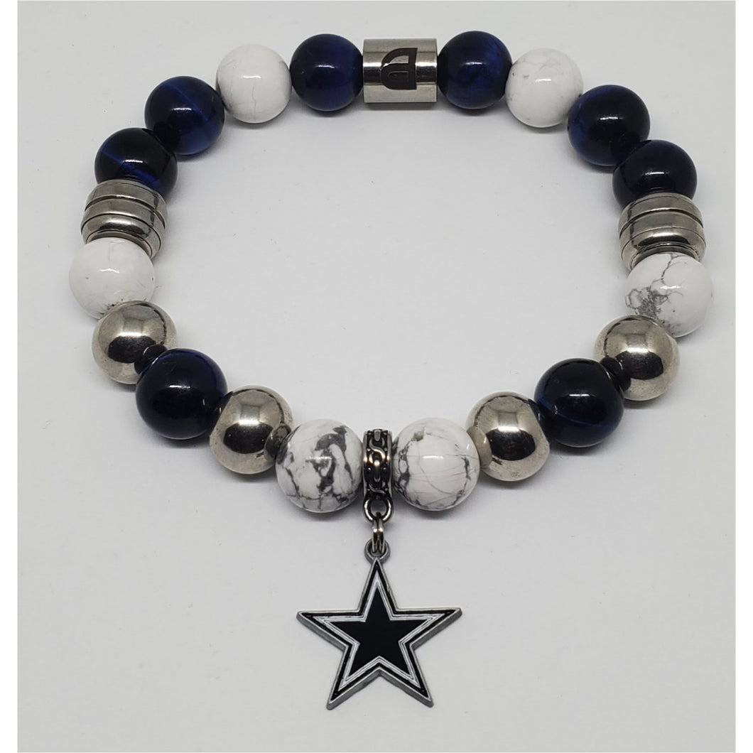Cowboys Men Blue and Silver Bracelet