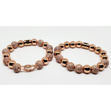 Rose Gold Chrystal Double Heart Stackable