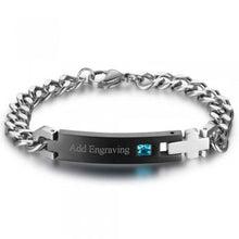 Titanium Engraved Bracelet with Birthstone