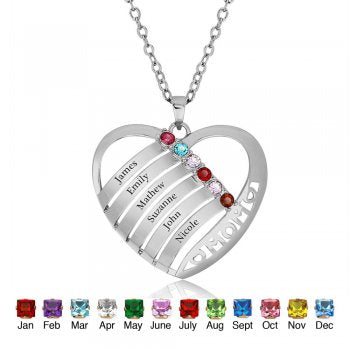 Personalized Six Name Birthstones Necklace