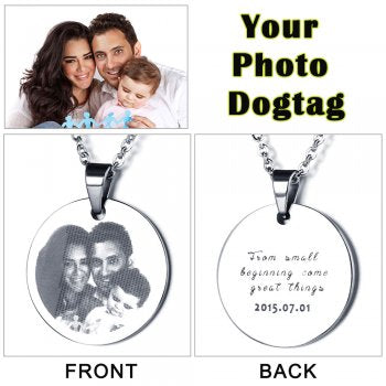 Stainless Steel Engraved Photo Necklace