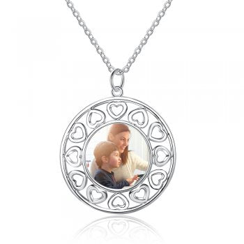 Round Hearts Photo Engraved Necklace