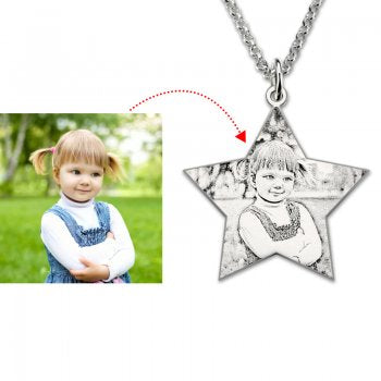 925 Sterling Silver Star Photo Necklace