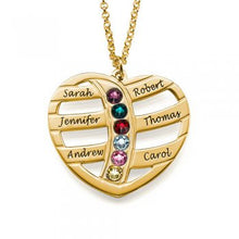 925 Gold Sterling Silver Engraved Heart with Birthstones Necklace