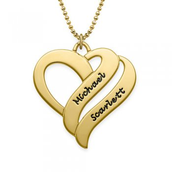 925 Gold Sterling Silver Two Hearts Forever One Necklace
