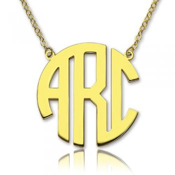 925 Gold Sterling Silver Three Letter Monogram Necklace