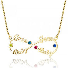 925 Sterling Silver 8-Shaped with Birthstones English Necklace