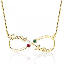 925 Gold Sterling Silver 8-Shaped Two Name and Birthstones English Necklace