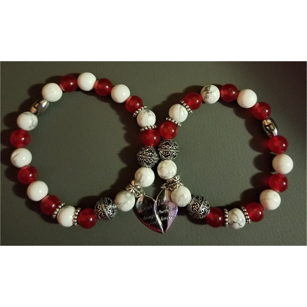 Red and White Mother Daugher Bracelet